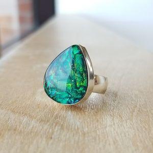 Aurora Lights Australian Triplet Opal SS Ring